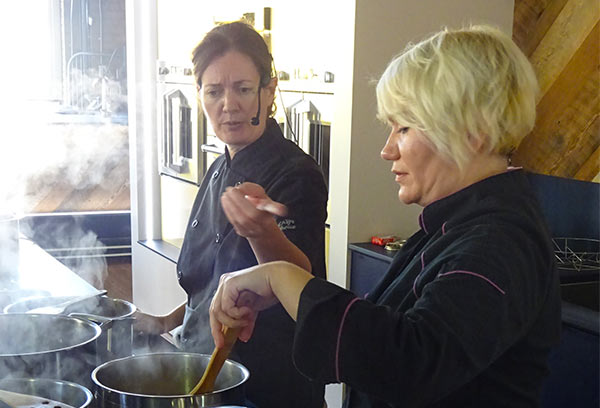We received a lot of information at the Market Kitchen cooking class, but there was some fun.