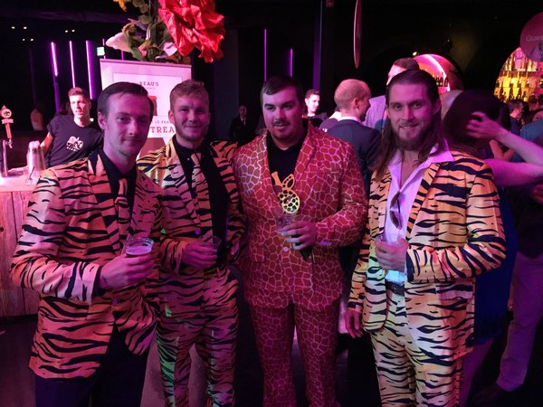 These guys donned jungle print suits at Boobyball at Rebel Night Club in Toronto in support of Rethink Breast Cancer