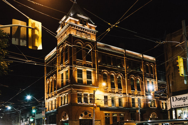 The Broadview Hotel in Toronto lit up, photo credit Michael Rousseau