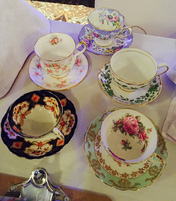 Vintage teacups at Eva's Taste Matters at Liberty Grand in Toronto