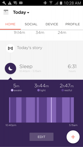 Misfit Ray Sleep Activity Graph