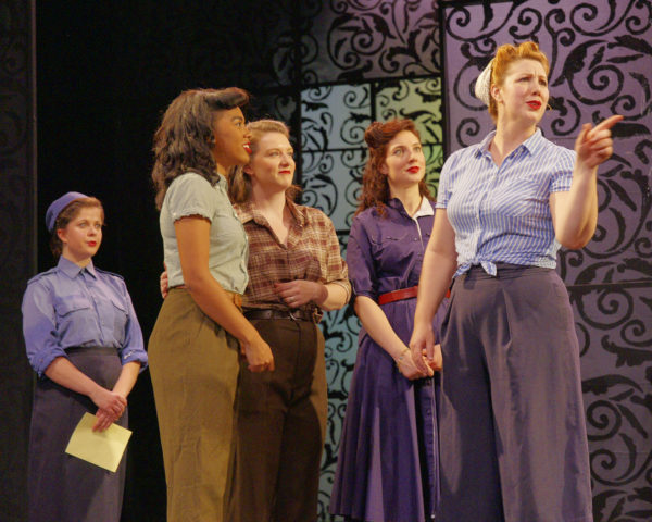 Maggie Hammel, Messenger / Tatiana Deans, Hero / Megan Miles, Ursula / Sarah Marchand, Margaret / Shalyn McFaul, Beatrice in Much Ado About Nothing at Hart House Theatre, photo Scott Gorman