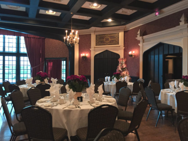 Guildhall at Old Mill Inn and Spa decorated for Christmas Eve buffet.