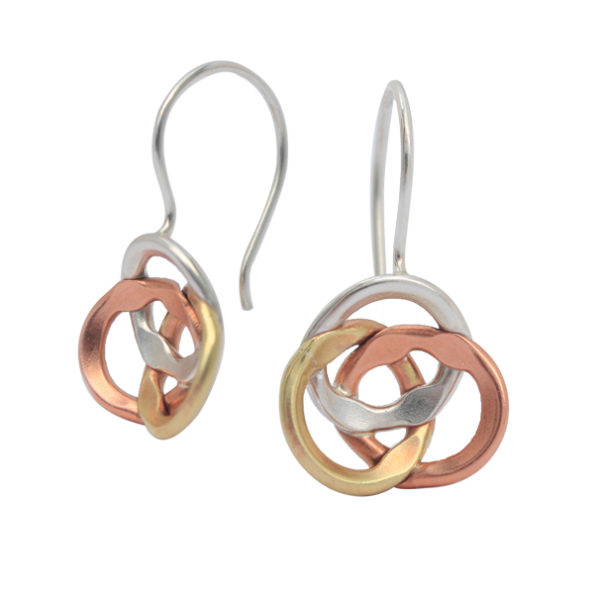 Tonal, Infinity Drop Earrings in Sterling Silver, Copper and Brass, $180, from Annie Tung Creative at One of a Kind Craft Show in Toronto