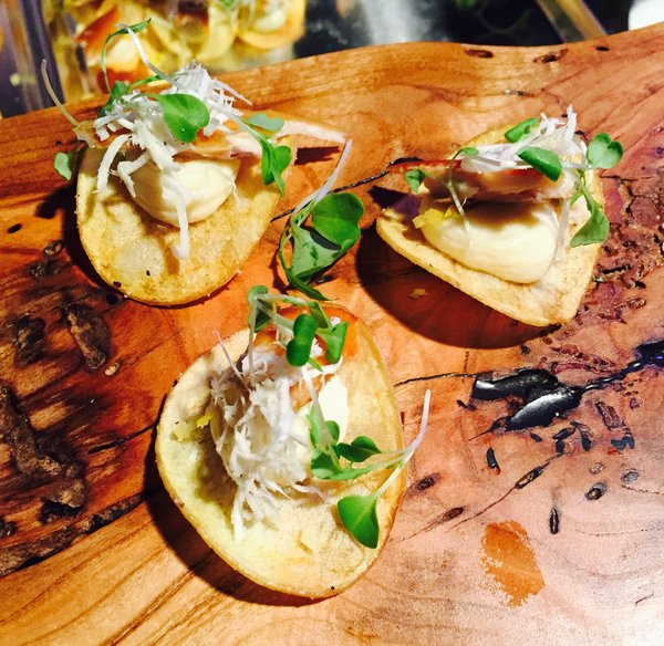 Chip topped with parsnip mousse and Ontario smoked trout by Christine Ostiguy at Eat to the Beat at Roy Thomson Hall