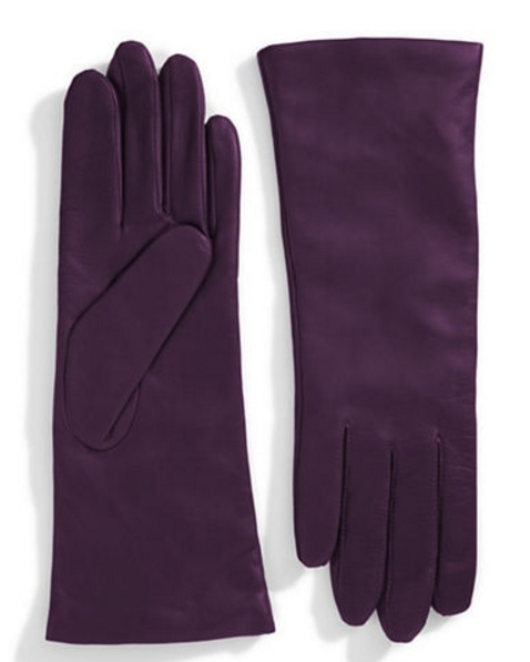 Lord & Taylor Cashmere lined 10.75' leather gloves in Amethyst, $59.99 make great last minute Christmas gifts for her