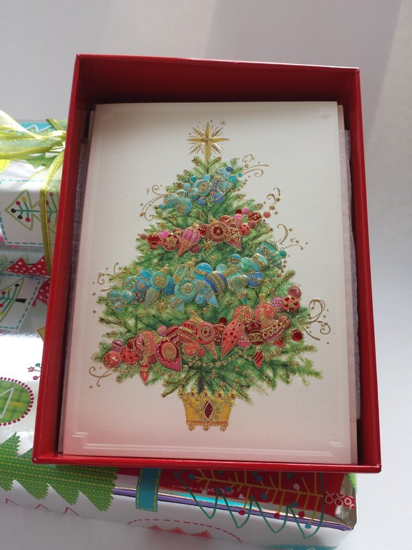 Ombre Garland Christmas Tree Boxed Cards, $19.95. Papyrus holiday cards are stylish and exquisitely made.
