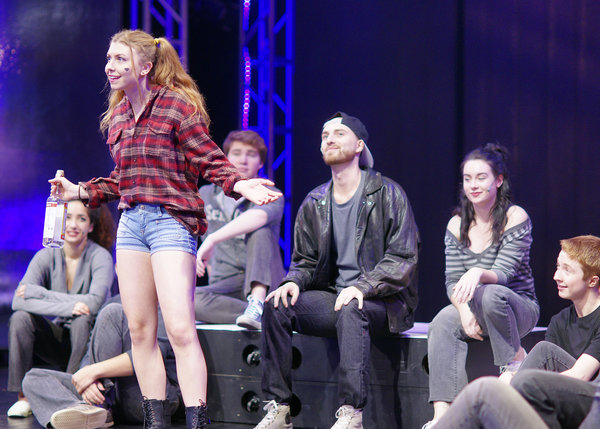 Sarah D'Cunha as Katie, Madison Sekulin as Chris Hargensen, Blake Crawford as Ernest, Stephane Gaudet as Billy Nolan, Sydney LaForme as Cora, Peter Mundell as Stokes in Carrie The Musical at Hart House Theatre, photo credit Scott Gorman