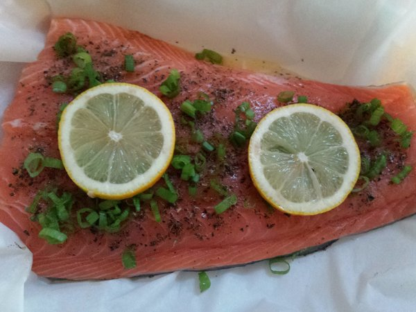 Your Fresh Market Atlantic Salmon on parchment paper from Walmart.ca Grocery Pick-Up
