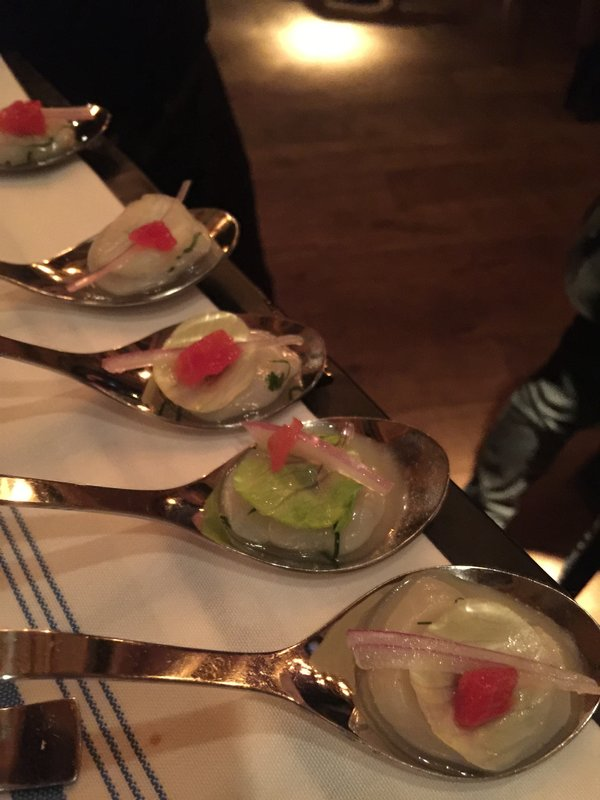 Scallop Ceviche at Cluny Bistro and Boulangerie at Toronto Light Festival
