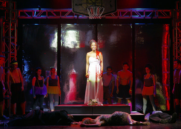Tiyana Scott and company of Carrie The Musical at Hart House Theatre in Toronto, photo credit Scott Gorman