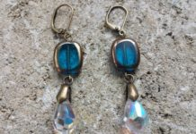 Shasta Earrings made from vintage Austrian crystal, $45, from Green Bijou