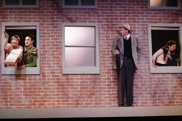 Scott Kuipers as Michael, Nicole Hrgetic as Joan, Brian Haight as The Man and Margarita Valderrama as Rachel in 7 Stories at Hart House Theatre, photo Scott Gorman