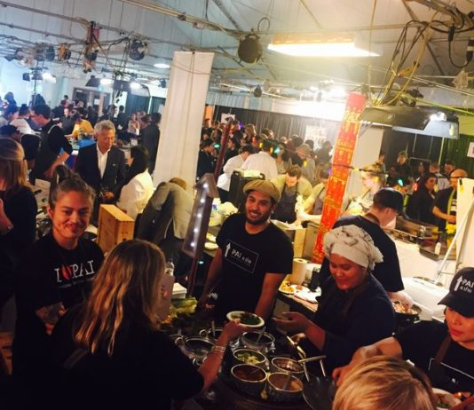 The crowd enjoys the wide variety of food offerings at Recipe for Change 2017