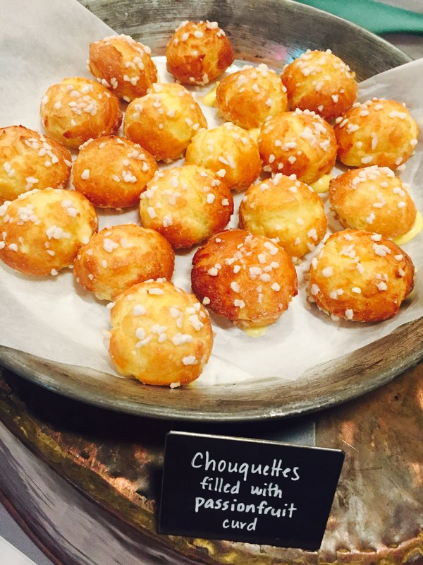 Passion fruit cream filled chouquettes from The Tempered Room