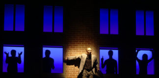 Brian Haight as The Man in 7 Stories at Hart House Theatre, photo credit Scott Gorman