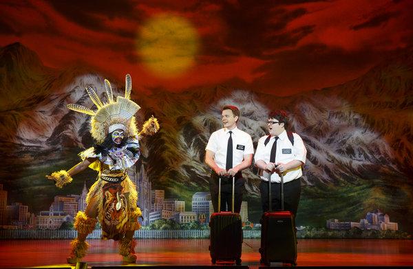 Monica L. Patton, David Larsen, Cody Jamison Strand The Book of Mormon National Tour, photo credit Joan Marcus, 2014