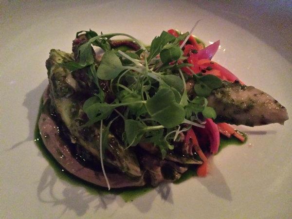 Octopus Escabeche Black Garlic, $20, at Figures Restaurant in Toronto