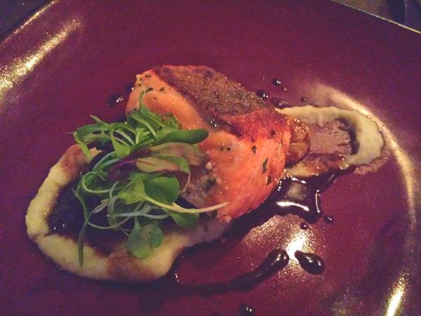 Coho Salmon Sunchoke, Dandelion, $24, at Figures Restaurant Toronto