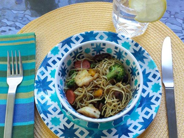 Stir Fried Shrimp and Noodles with Avocado Oil