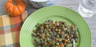 Roasted vegetables, chickpeas and pesto quinoa with Spirulina Powder