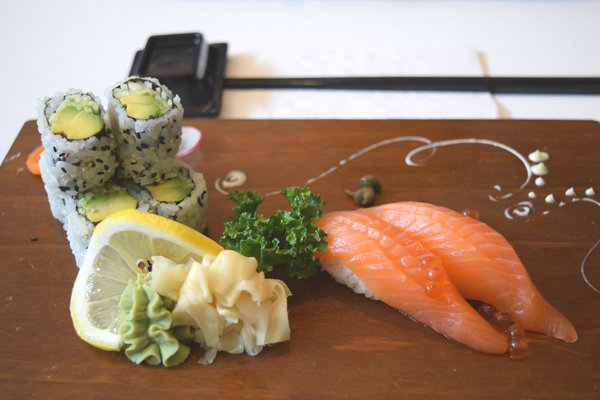 Avocado and Cucumber Rolls and Salmon Sushi at Kibo Sushi on Parliament Street