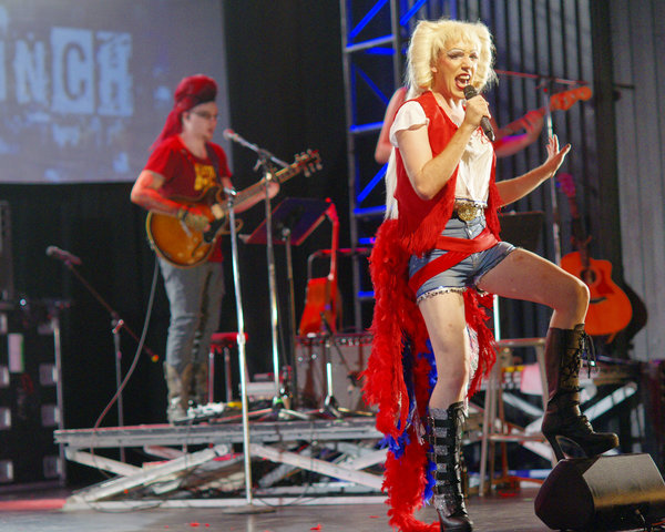 Iain Leslie as Krzyzhtof (on guitar) and James King as Hedwig in Hedwig and the Angry Inch at Hart House Theatre