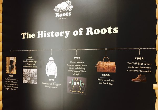 The History of Roots displayed on a wall at Roots Enhanced Experience store at Yorkdale Shopping Centre