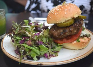 The Green Wood Burger with fresh greens at The Green Wood