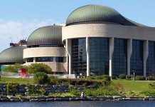 The sinewed design curves of the Canadian Museum of History along the banks of the Ottawa River.