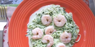 Sauteed Shrimp with Zucchini Noodles with Avocado Cream
