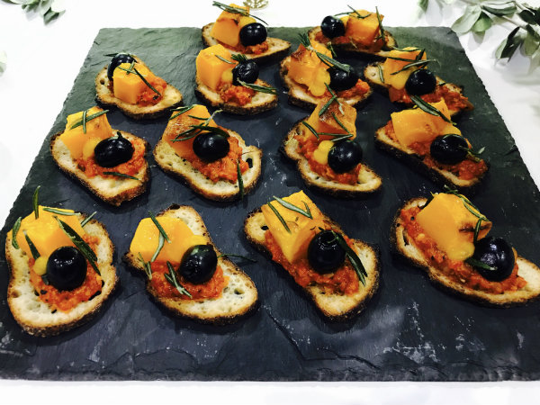 Olive and squash tostada from Bar Isabel at the Gourmet Food & Wine Expo in Toronto