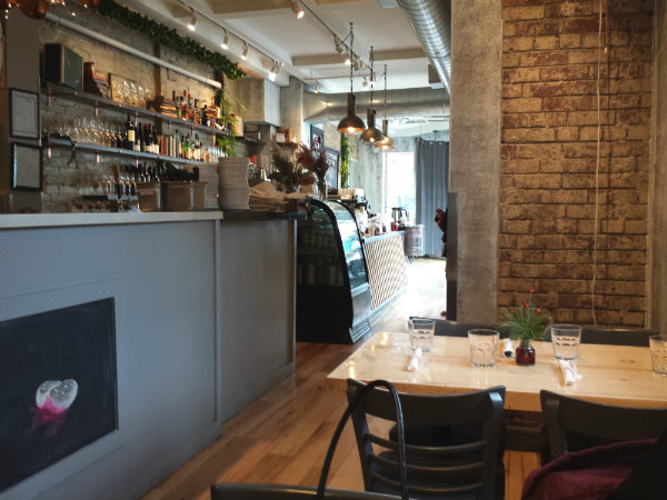 Interior of Brickyard Bistro at Gerrard Street East and Greenwood Avenue in Toronto
