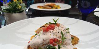 Bradford Bay Grilled Chicken with acorn squash, fingerling potatoes, pomegranate yogourt at Azure Restaurant