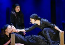 Joanna Decc as Mercy Lewis, Abigail Craven as Betty Parris, Courtney Lamanna as Abigail Williams |Back: Nina Rose Taylor as Mary Warren in The Crucible at Hart House Theatre, photo Scott Gorman