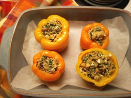 Stuffed Peppers with Quinoa Spinach Feta Chickpeas and Mushrooms Recipe