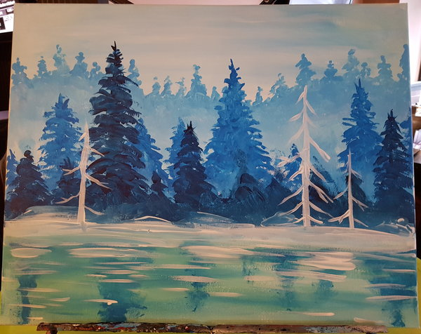 Instructor's painting 'Misty Forest Lake' at Paint Nite at Midtown Gastro Hub.