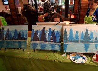 My painting on the right and my two neighbours' paintings at Paint Nite at Midtown Gastro Hub.