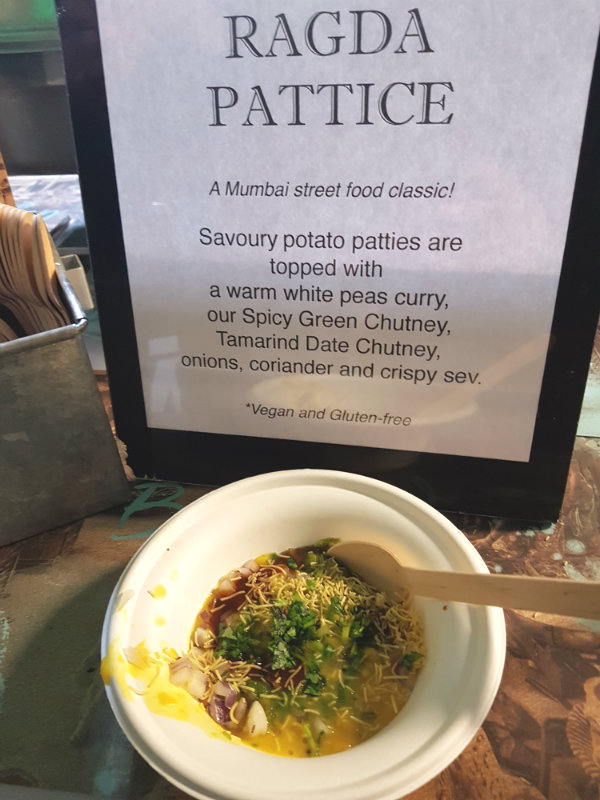 Ragda Pattice from Bombay Street Food at Recipe for Change at St. Lawrence Market in Toronto.