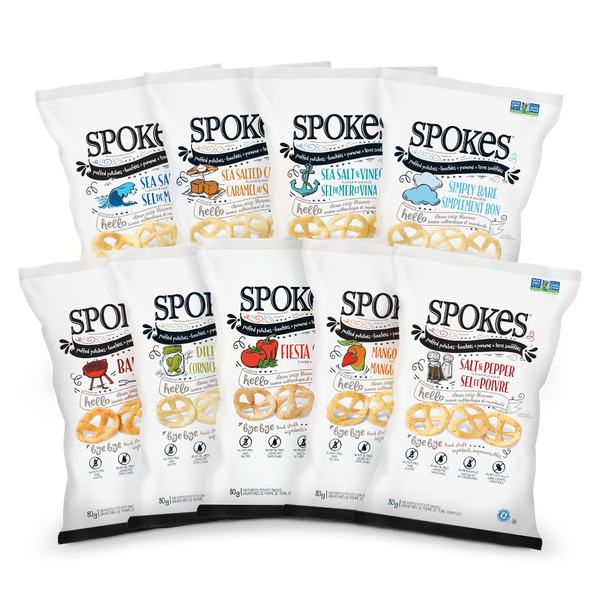 SPOKES Air Puffed Potato Snacks come in nine flavours.