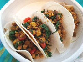 Curried Cauliflower, Sweet Potato, Spinach and Chickpea Tacos