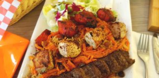 Grilled Kabob Plates at Naan and Kabob Restaurant, Toronto