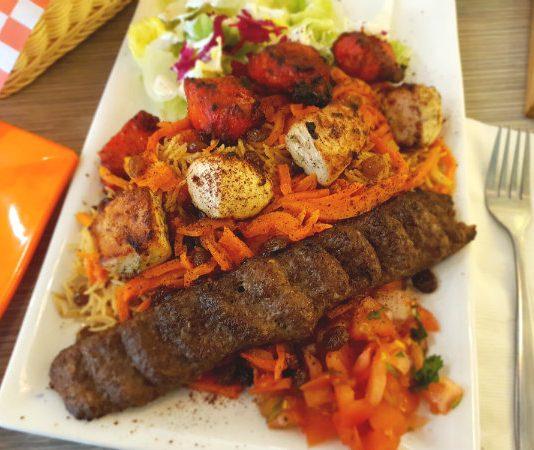 Grilled Kabob Plates at Naan and Kabob Restaurant, Toronto