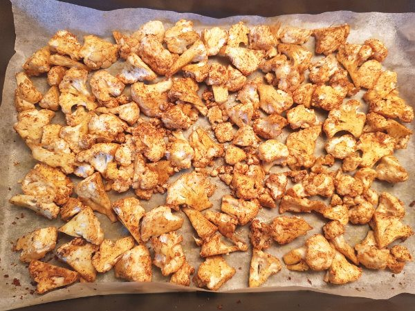 Roast cauliflower at 350 degrees for 40 minutes