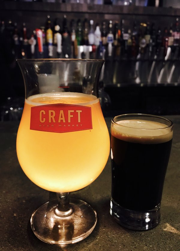 Mango IPA and Brown Cow Milk Stout at Craft Beer Market in Toronto