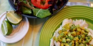 Baked Haddock with Avocado Orange Salsa.