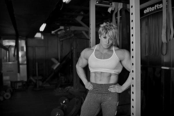 Janae in her basement gym in Ypsilanti, Michigan.