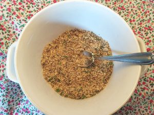 Chia Seed Bread Crumb Cilantro mixture