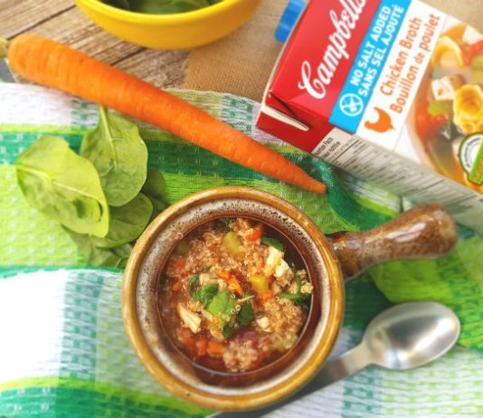 Chicken Soup with Quinoa and Spinach is made with Campbell's No Salt Added Chicken Broth