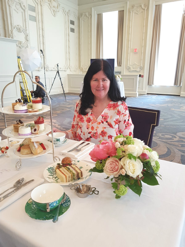 Enjoying a preview of the Royal Wedding Afternoon Tea at the Omni King Edward Hotel